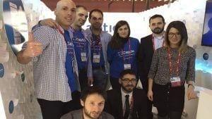 Un grup de treballadors de Captio al Mobile World Congress