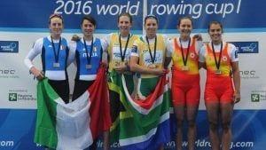 Aina Cid aconsegueix el bronze a la I Copa del Món a Varese. Font: VRsport Rowing