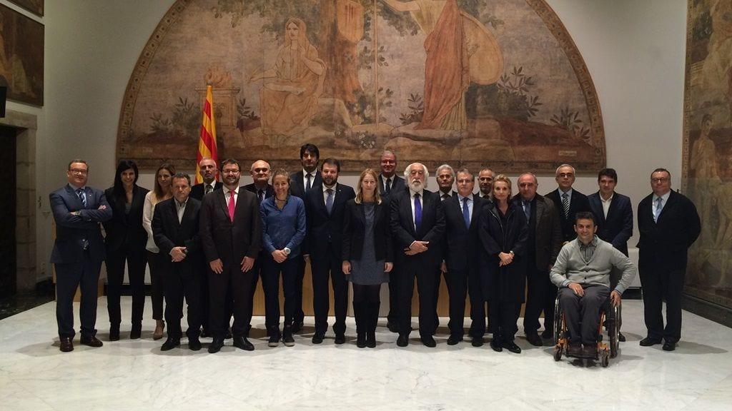 Els membres de l'òrgan assessor de l'esport català al Palau de la Generalitat