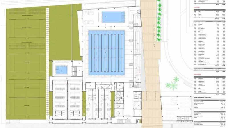 Plànol del projecte del complex esportiu de Tortosa / Cedida