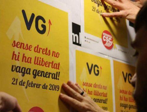 """Els sindicats de la vaga del 21-F anuncien mobilitzacions """"descentralitzades"""" arreu del territori"""
