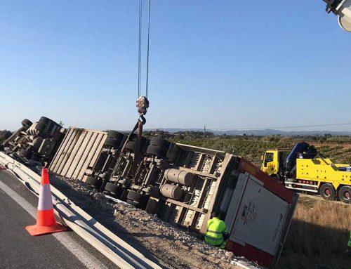 Aparatós accident d'un camió de bestiar a Ulldecona