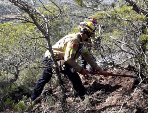 Crema un petit incendi al cim de la Picossa a Móra d'Ebre