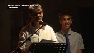 Festes Majors de la Fatarella: Proclamació de pubilles i pregó
