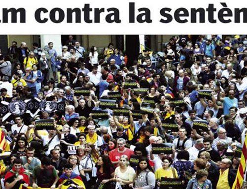 La reacció a la sentència, a la portada de l'edició en paper del Setmanari l'Ebre