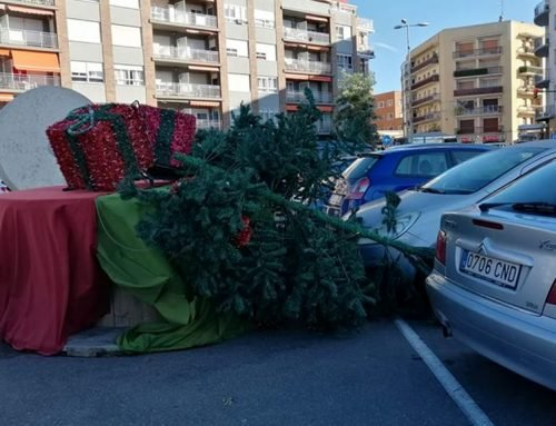 El fort vent tomba alguns dels nous arbres de Nadal instal·lats en diverses places de Tortosa