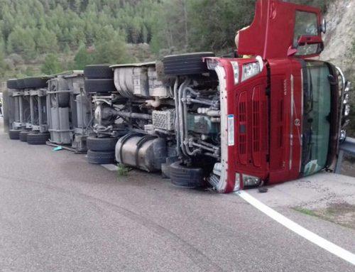Un camió carregat de porcs bolca en un aparatós accident a la C-12 a Benifallet