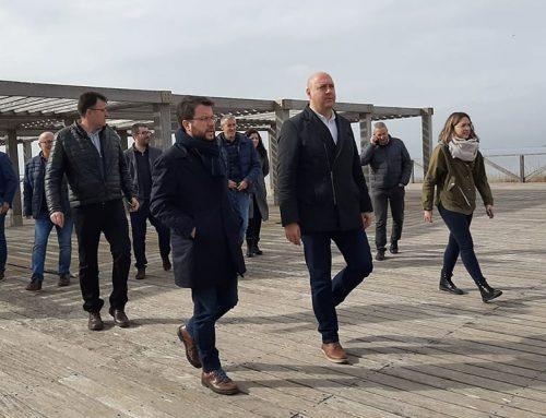 Aragonès visita les zones afectades pel temporal al Delta de l'Ebre