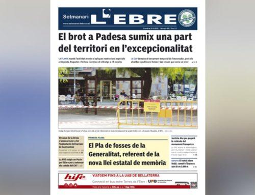 L'excepcionalitat derivada del brot de Padesa, a la portada de l'edició en paper del Setmanari L'EBRE