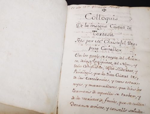 El Consell Comarcal del Baix Ebre adquireix un manuscrit del segle XVIII dels 'Col·loquis' de Despuig