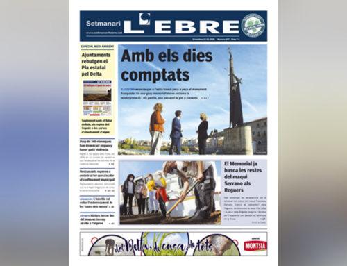 El monument franquista i l'obertura de la fossa de Serrano als Reguers, a la portada de l'edició en paper del Setmanari L'EBRE