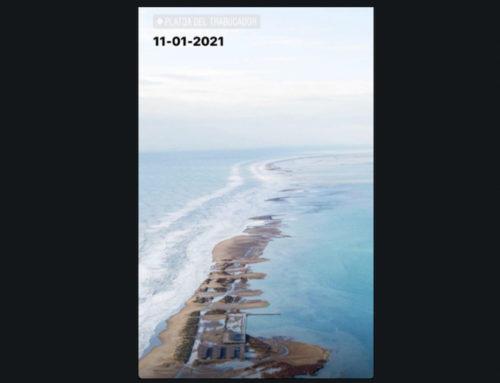 Aquest és l'estat de l'istme del Trabucador després del pas del temporal Filomena pel delta de l'Ebre
