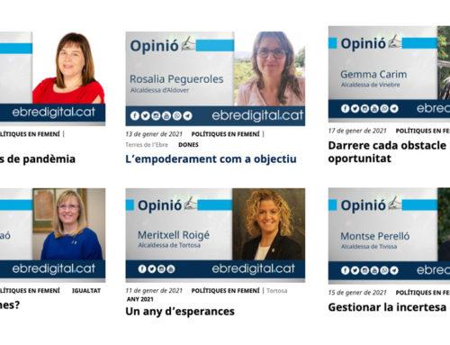 L'ebredigital.cat dona veu a les alcaldesses i regidores de les Terres de l'Ebre a través de la secció d'opinió 'Polítiques en femení'