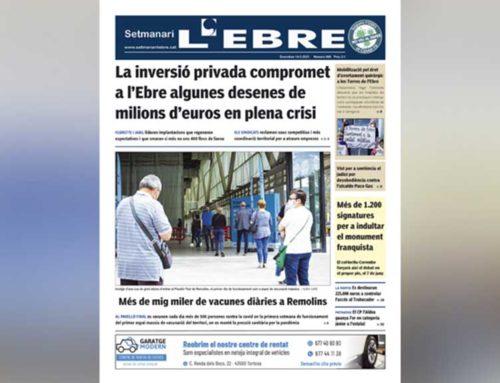 El reguitzell d'inversions privades anunciades a l'Ebre, a la portada en paper del Setmanari L'EBRE